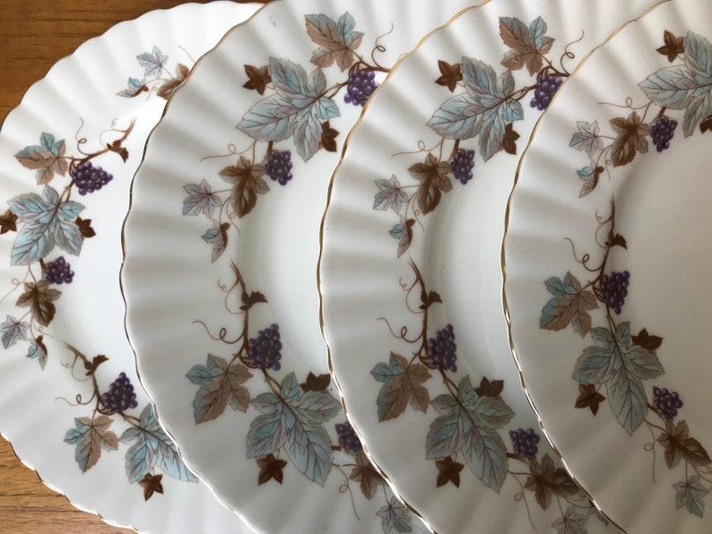 Lorraine Salad Plates Blue-Grey Leaves Brown Vines Plates Purple Grapes Royal Albert China Plates Bone China Dishes
