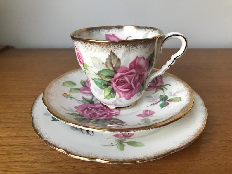 4cc2294dd7f Royal Stafford Berkeley Rose Tea Cup Trio Pink