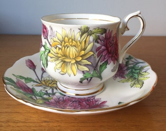 "Royal Albert ""Chrysanthemum"" Tea Cup and Saucer, Flower of the Month Teacup, November Birthday Gift, Pink Yellow Flower Vintage Bone China"