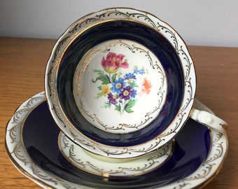 Cobalt Blue Aynsley Tea Cup and Saucer, Vintage Floral Teacup and Saucer, English Bone China, Collectibles, Antique