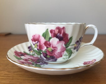 Adderley Sweet Pea Tea Cup and Saucer, Vintage China Teacup and Saucer, Pink and Purple Sweet Peas