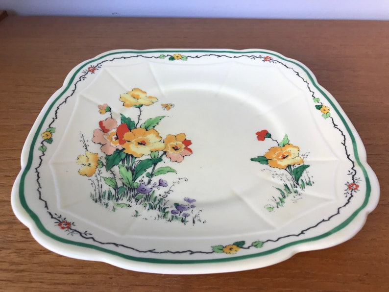 Crown Staffordshire Cake Plate Vintage Serving Tray with Hand Painted Yellow and Orange Flowers