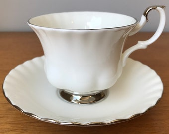 """Royal Albert Teacup and Saucer, White and Silver """"Chantilly"""" Tea Cup and Saucer, Vintage Bone China"""