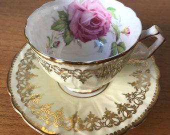 Aynsley Roses Pale Yellow Tea Cup and Saucer, Large Pink Rose Gold Teacup and Saucer, Vintage Bone China