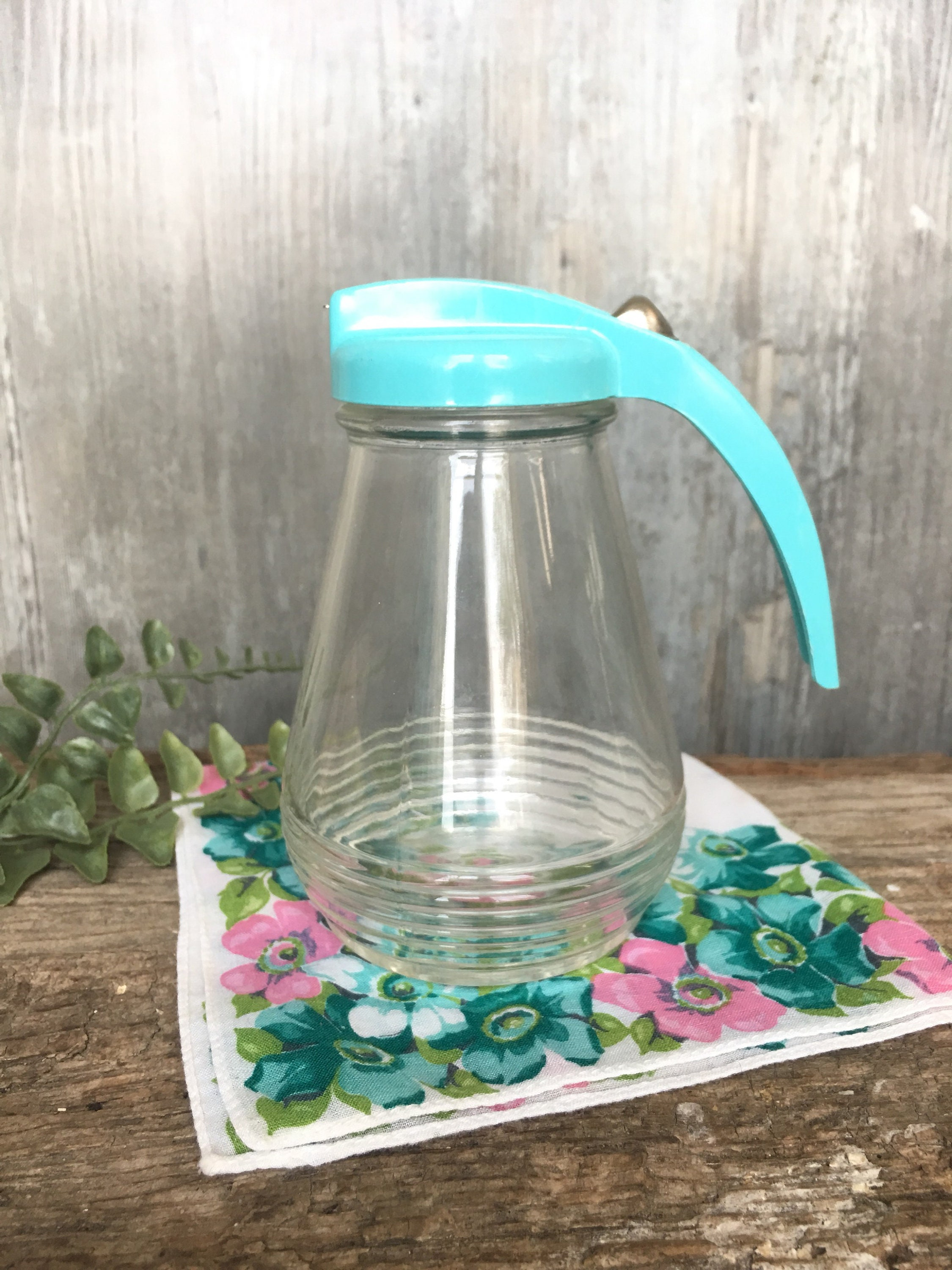 Vintage teal kitchen decor glass syrup pitcher with aqua handle teal kitchen accessories