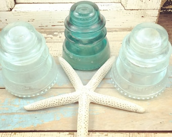 SALE set/3 vintage teal and clear glass electrical insulator set of 3, Hemingray-42 beaded bottoms, two clear one teal, unique decor, beachy