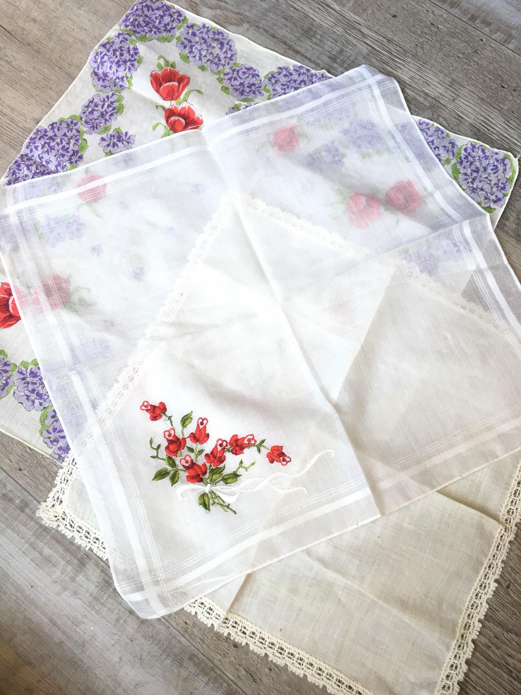 Vintage hankies, set/3 handkerchiefs, rose print, red and purple ...