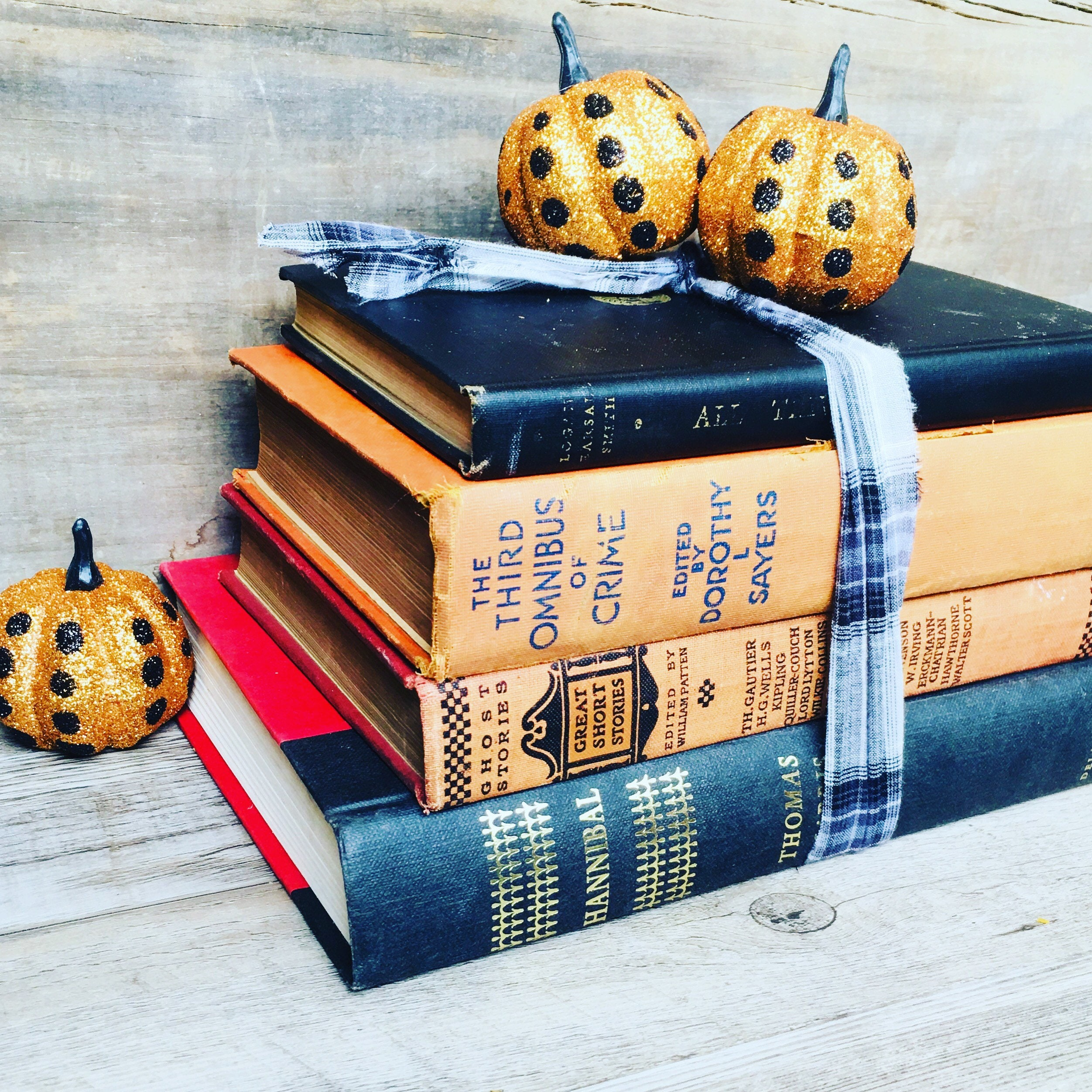 Sale Halloween Decor Book Bundle Decorative Books With Sparkly