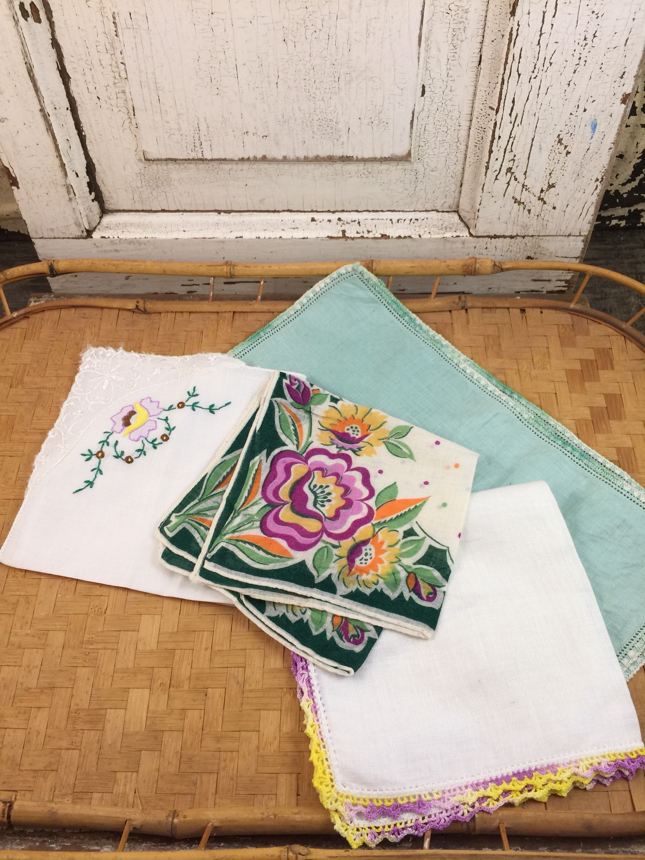Sale Vintage Hankie Lot Vintage Handkerchiefs Floral Print Shabby
