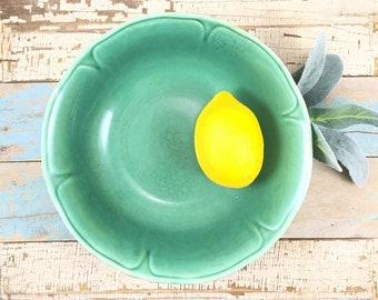SALE Teal green bowl, shabby chic home decor, farmhouse kitchen decor,  pretty rustic bowl