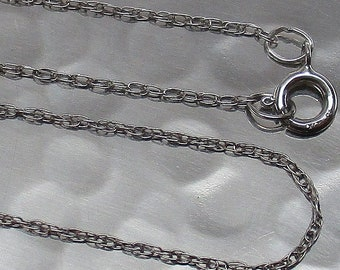 """SOLID 10K WHITE GOLD Lightweight Dainty 0.8mm Prince of Wales Style Chain 18"""" Necklace"""