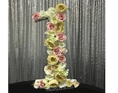 Large Freestanding Foam Floral Roses Numbers perfect for photo prop, vip table, 1st birthday, sweet 16, baby shower, quince, Mitzvah
