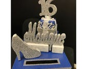 Denim & Diamonds Sweet 16 15 Quince Card Box! GORGEOUS!! Rhinestone Tiara, High Heel Shoe and Gift Box Stack!