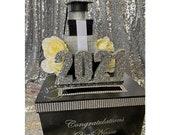 Graduation Card Box! GORGEOUS!! Grad cap, flowers and Box Stack!