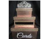 Three-Tiered Rhinestone Card Box Rose Gold, Gold, Silver, Turquoise for  Sweet 16 / Wedding / Quince /