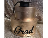 Graduation Grad Congrats Box Tower Centerpiece with hat and tassle