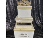 Three-Tiered Rhinestone Card Box with crystal crown tiara Rose Gold, Gold, Silver, Turquoise for  Sweet 16 / Wedding / Quince / Princess