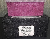 Two-Tier Card Box Glitter and Bling -Medium for Sweet 16, Communion or Mitzvah Masquerade Mask or any theme