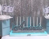 Sweet 16 Candelabra AND Centerpieces Tiff blue theme with glittered base! Quinceanera & Mitzvah Candle Lighting Centerpiece - Large Size
