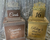 Two-Tier Custom Card Box with rhinestone tiara // Princess // Gorgeous with bling // Sweet 16 // Quince // Wedding // Anniverary // Mitzvah