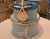 Nautical Beach Themed Round Card Box with starfish, shell and glittered lid - Sweet 16, Wedding, Quince, Mitzvah