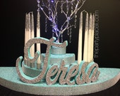 Rounded Candelabra Candle Lighting with lighted Manzanita crystal tree - Extra Large with candles for Sweet 16 / Quince / Mitzvah