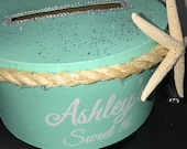 Nautical Beach Under the Sea Themed Round Card Box with starfish and sea rope - Sweet 16, Wedding, Quince, Mitzvah