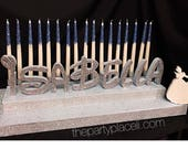 Sweet 16 Candelabra, Quinceanera & Mitzvah Candle Lighting Centerpiece in special font - Large Size with Cinderella inspired silhouette