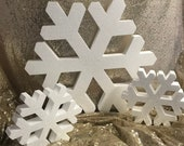 Snowflake Props! Large Freestanding Foam Snowflakes perfect for photo prop, display, sweet 16, quince