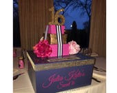 Kate Spade inspired Sweet 16 15 Quince Card Box! GORGEOUS!! Peonies or roses Gift Box Stack!