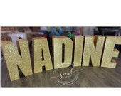 1 Ea Large Freestanding Glittered Letters - wedding, shower, photo prop, vip table, candy table, sweet 16, quince - free shipping! Priced ea