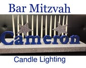 Bar Mitzvah Candle Lighting Centerpiece Candelabra Ceremony Includes candles, Stars and Block Letters