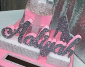 Sweet 16 15 Quince Card Box! GORGEOUS!! Rhinestone Tiara, High Heel Shoe and Gift Box Stack!