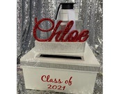 Graduation Card Box! GORGEOUS!! Grad cap and Box Stack with custom glittered name!