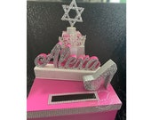 Bat Mitzvah Card Box! GORGEOUS!! Rhinestone Tiara, High Heel Shoe and Gift Box Stack topped with glittered Jewish Star!