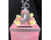 Sweet 16 15 Quince Card Box! GORGEOUS!! Rhinestone Tiara, Roses, Heel and Gift Box Stack!
