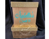 Sale & Free Ship! Rhinestone Card Box Sweet 16 / Wedding / Quince / Mitzvah