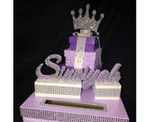 Prince or Princess Crown Tiara Card Box! GORGEOUS!! Glittered name and Box Stack! Birthday, Christening, Communion, Sweet 16, Quince