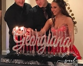 Sweet 16 Candelabra, Quinceanera & Mitzvah Candle Lighting Centerpiece with Feather Boa! - Large Size