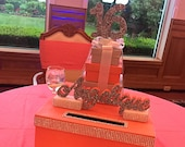 "Quince or Sweet 16 Large 14"" Card Box! GORGEOUS!!  Glittered name and Box Stack!"