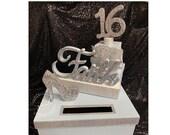 Sweet 16 15 Quince Card Box! GORGEOUS!! Rhinestone Tiara, High Heel Shoe and Gift Box Stack!