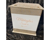 Large White Wedding or Sweet 16  Card Box in Rose Gold, blush and white - beautiful!