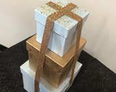 Gift box stack centerpiece perfect for any event - Sweet 16, Birthday or Quince Box Tower Centerpiece