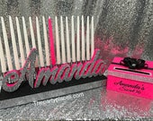 "Sweet 16 ""Mini"" Candelabra with candles and card box, Quinceanera & Mitzvah Candle Lighting Centerpiece"