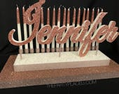 Rose Gold  Sweet 16 Candelabra - LARGE SIZE, Quinceanera & Mitzvah Candle Lighting Centerpiece