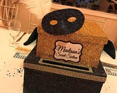 Two-Tier Card Box Glitter and Bling -Large for Sweet 16, Communion or Mitzvah Masquerade Mask or any theme