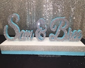 Custom Script Name Centerpiece with double base for Wedding, Twin Sweet 16, Candy Buffet,