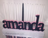 Sweet 16 Candelabra, Quinceanera & Mitzvah Candle Lighting Centerpiece with lowercase or block letters