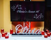 Custom Script Name Centerpiece for Sweet 16, Candy Buffet, Shower & Mitzvah