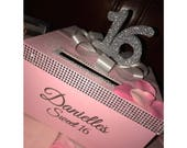Rhinestone Card Box with glittered 16, large bow Sweet 16 / Wedding / Quince / Mitzvah